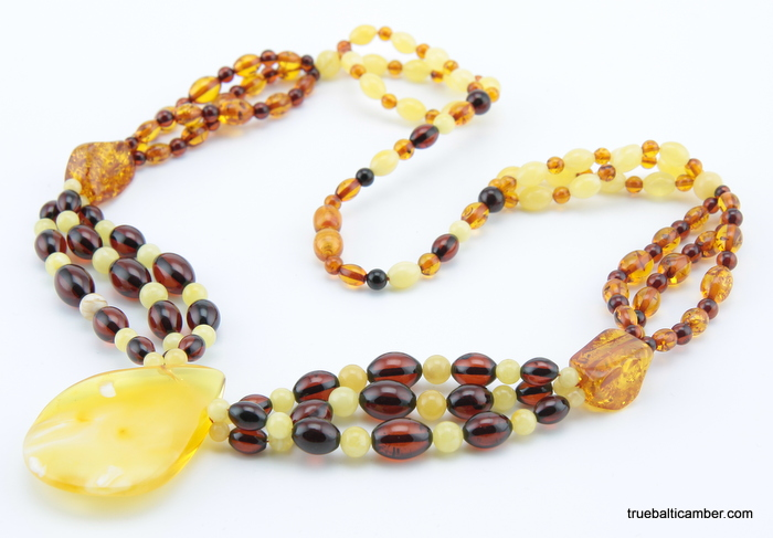 Multi strand baltic amber pendant necklace aloadofball Images