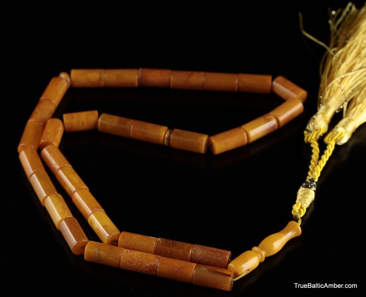 BALTIC AMBER Islamic Prayer 33 Barrel Cylinder Beads Natural Amber Yellow Color