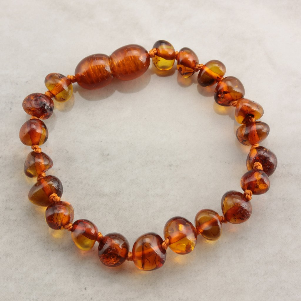 Cognac Baroque Baby Teething Baltic Amber Bracelet