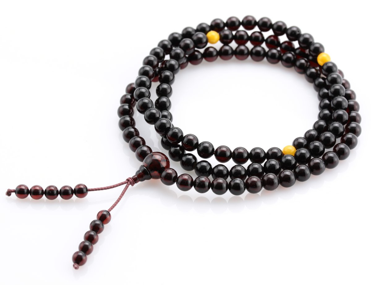 Tibetan Buddhist Mala Prayer 108 Baltic Amber Beads