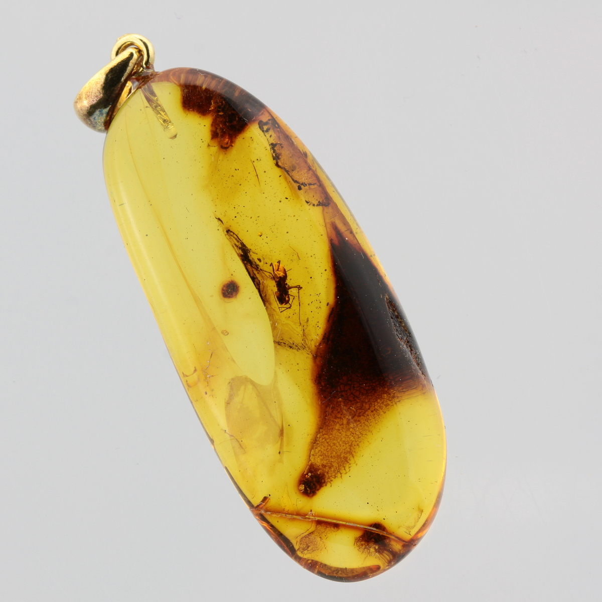 2 Insects Natural Baltic Amber Pendant With Insect Inclusion Silver GP 5 g #5117