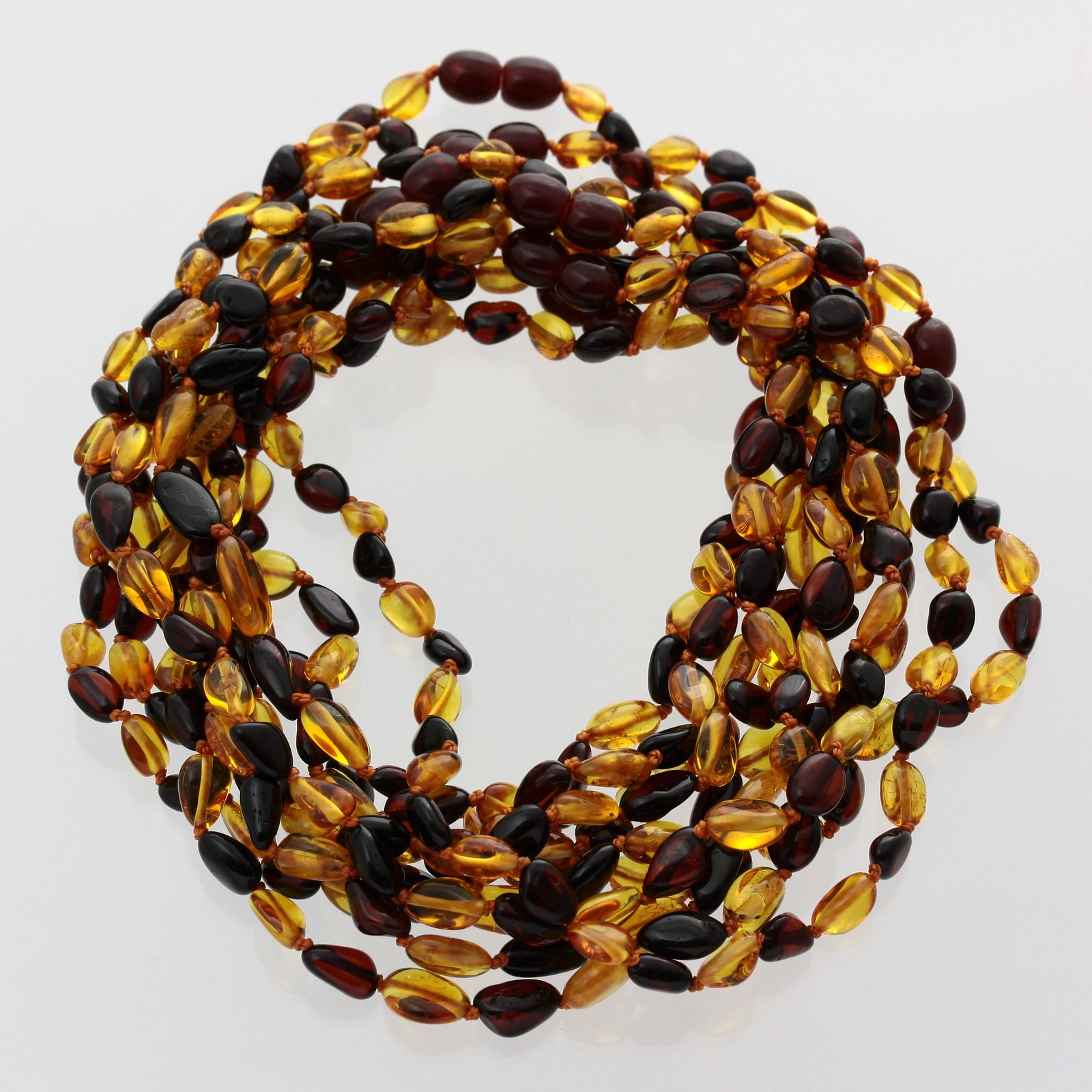 Baltic Amber Necklace Teething Baby Toddler Child Rounded Sides Unpolished Green Beads