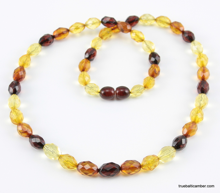 Olive Garden With Amberstone: Necklaces :: Fashion :: Faceted Baltic Amber Multi OLIVE