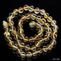 Lemon BAROQUE beads Baltic amber necklace 45cm