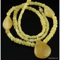 Butter combination beads Baltic amber necklace