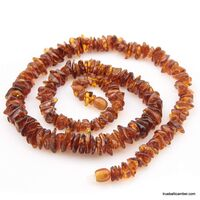 Cognac CHIPS Baltic amber necklace 24in