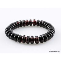 Glossy Cherry Button beads Baltic amber stretch bracelet
