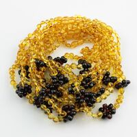 10 Flower BAROQUE Baby teething Baltic amber necklaces 32cm