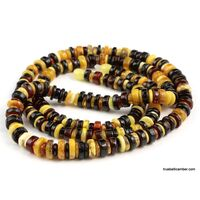 Multi BUTTONS Baltic amber long necklace 37in
