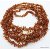 Lot of 5 Baltic amber LONG CHIP beads necklaces