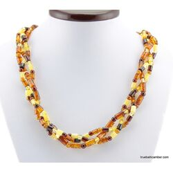 Woven multi-strand Baltic amber necklace 21in