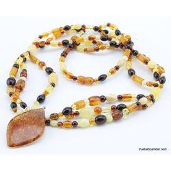 Multi-strand Baltic amber pendant necklace