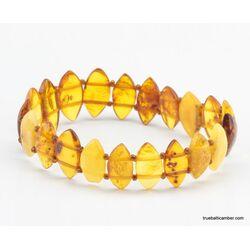 Carved pieces Baltic amber elastic bracelet
