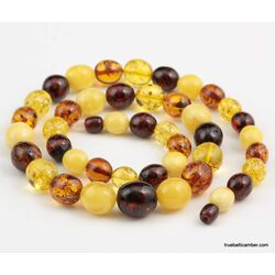Large glittering OLIVE Baltic amber beads ecklace