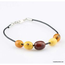 Charm beads Baltic amber leather bracelet