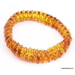 Facet cut pieces Baltic amber bracelet 7in