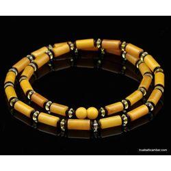 Egg yolk Cylinder beads Baltic amber UNISEX choker 23in
