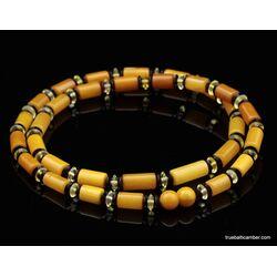 Egg yolk Cylinder beads Baltic amber UNISEX choker 22in