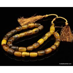 Islamic 33 Baltic amber Prayer BARREL beads