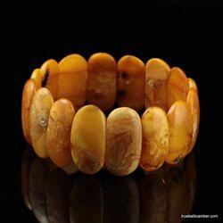Anitique EGG YOLK pieces Baltic amber stretch bracelet