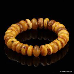 EGG YOLK Button beads Baltic amber stretch bracelet