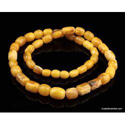 Vintage Egg Yolk BARREL Baltic amber unisex necklace