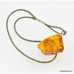 Carved Baltic amber - strap charm dangle