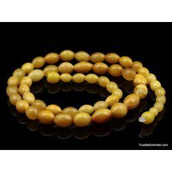 ANTIQUE Vintage Egg Yolk BARREL Baltic amber necklace 21in
