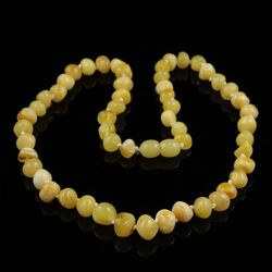 Butter BAROQUE beads Baltic amber necklace