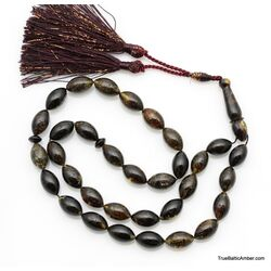 Large Islamic 33 Prayer Dark OLIVE Baltic amber beads rosary