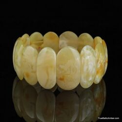 White pieces Baltic amber stretch bracelet
