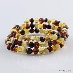 Multi BAROQUE beads Baltic amber Memory wire bracelet