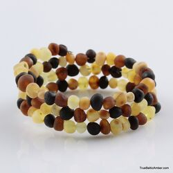 Multi Raw BAROQUE beads Baltic amber Memory wire bracelet
