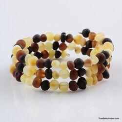 Multi Raw BAROQUE beads Baltic amber Memory wire bracelet