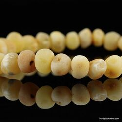 Raw Butter BAROQUE beads Baltic amber bracelet 7in