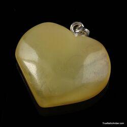 Butter Baltic amber HEART shape pendant