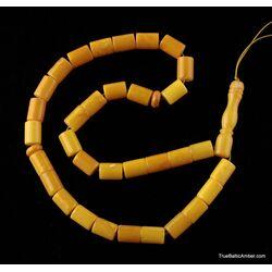 Islamic 33 CYLINDER Baltic amber prayer ANTIQUE beads