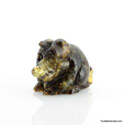 Carved Genuine BALTIC AMBER - Piglet