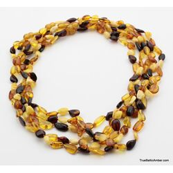 5 Multi BEANS Baltic amber adult wholesale necklaces 21in