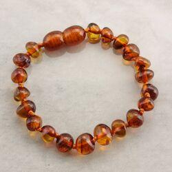 Cognac BAROQUE Baby teething Baltic amber bracelet