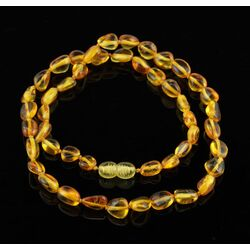 Lemon BEANS Baltic amber knotted necklace