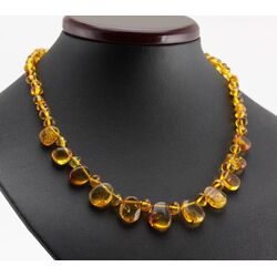 Leave shape pieces Baltic amber necklace 18in
