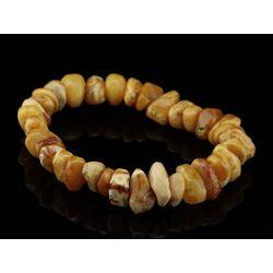Egg Yolk nuggets Baltic amber stretch bracelet 8in