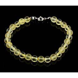 Lemon ROUND beads Baltic amber bracelet 7in