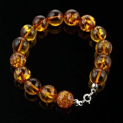 Large round cognac beads Baltic amber bracelet 8in
