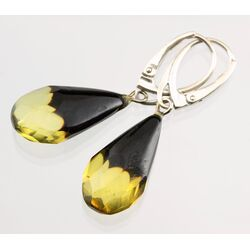 Faceted teardrops Baltic amber earrings