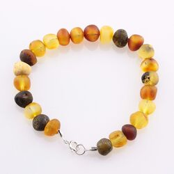 Raw BAROQUE beads Baltic amber adult bracelet 7in