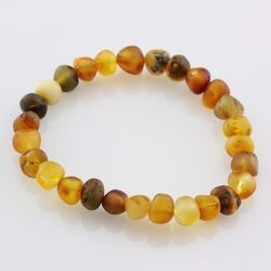 Raw BAROQUE beads Baltic amber adult stretch bracelet 7in