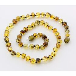 Green BAROQUE beads Baltic amber necklace 44cm