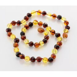 Multi3 BAROQUE beads Baltic amber necklace 42cm